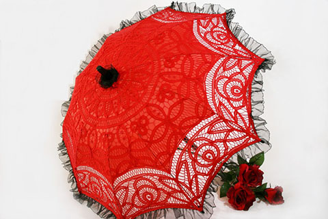 Lace Parasol- Red